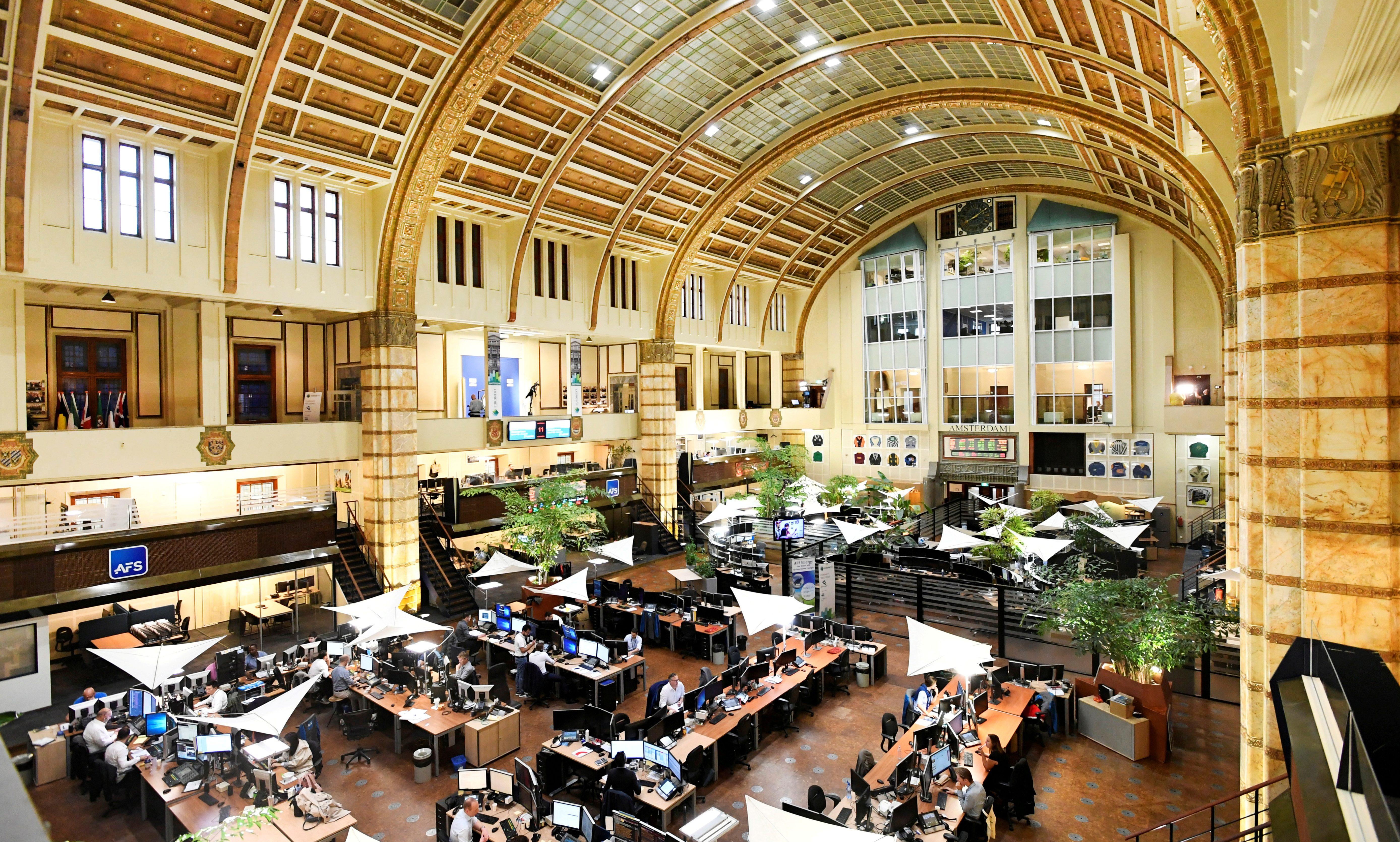 Overview of Amsterdam's stock exchange interior