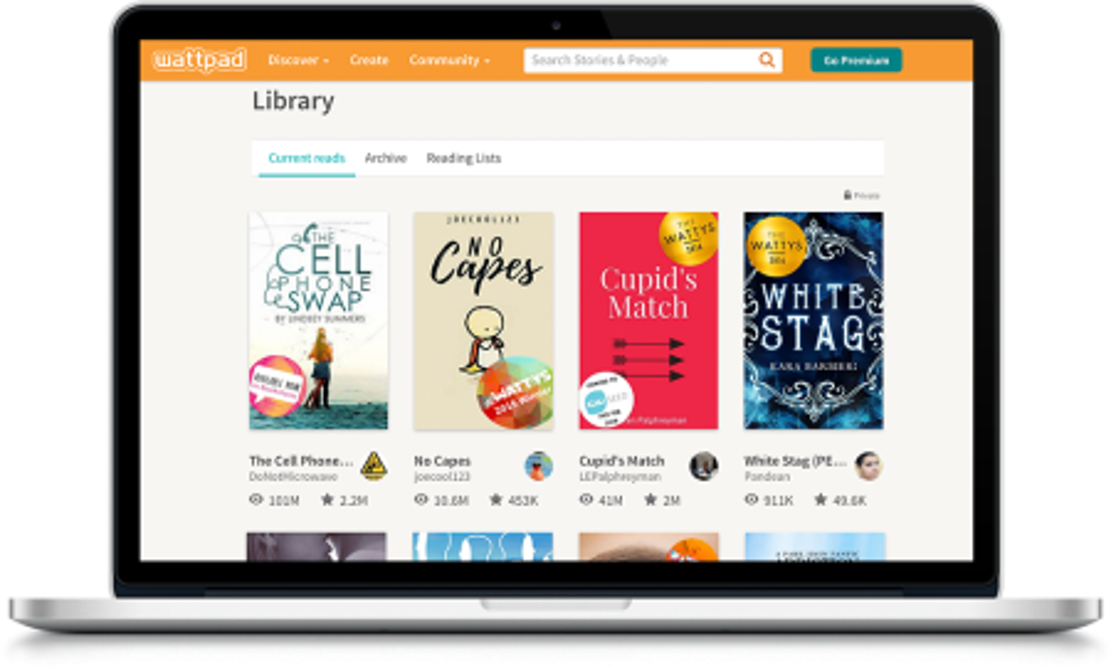 A Wattpad library on desktop