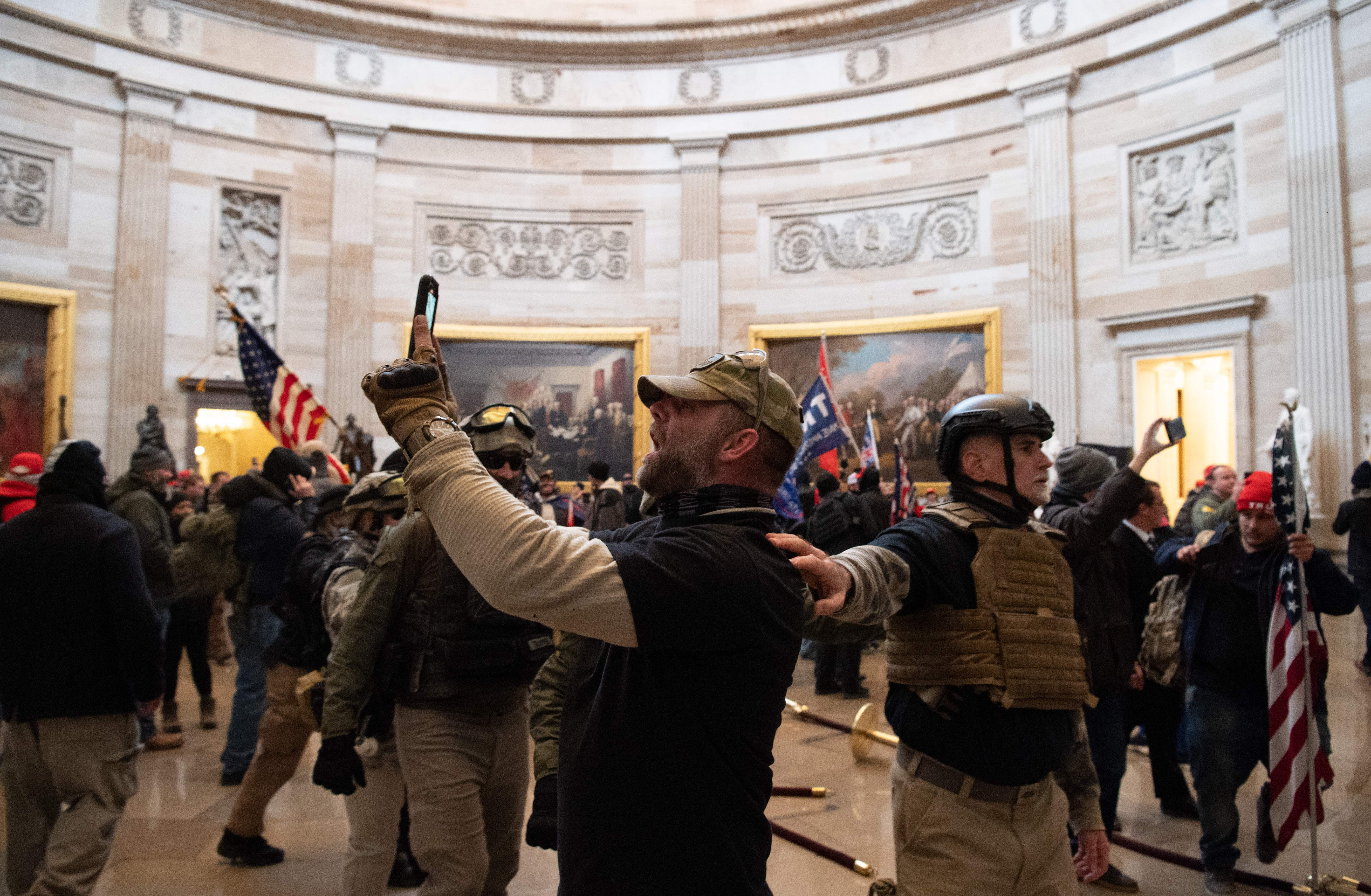 Supporters of US President Donald Trump protest inside the US Capitol