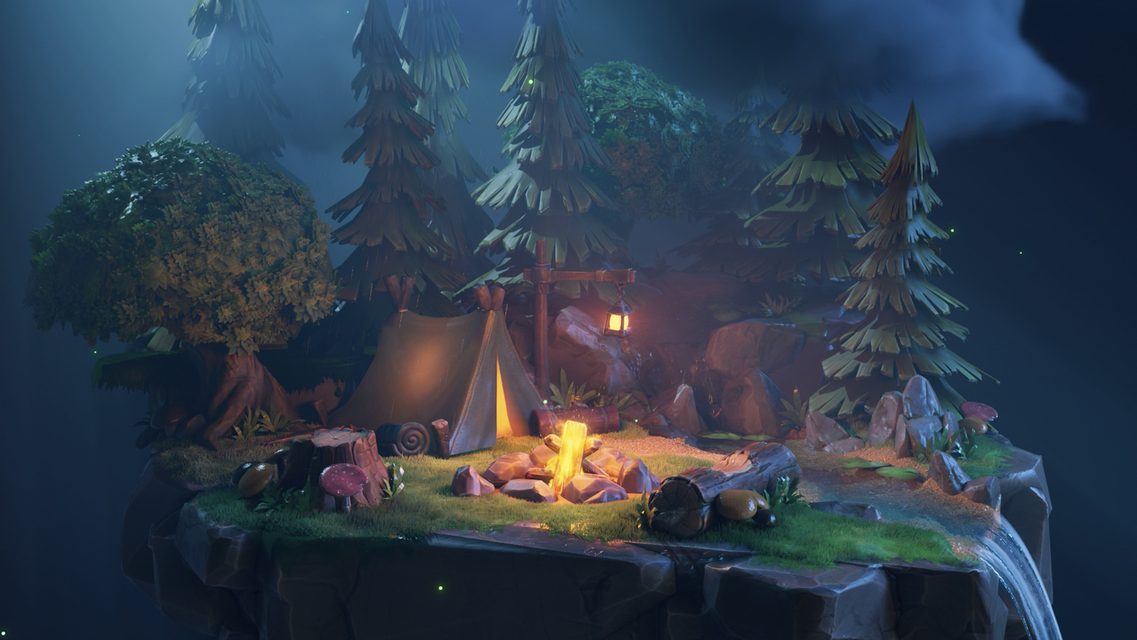 An image from the Loona app of a campfire and tent in a forest