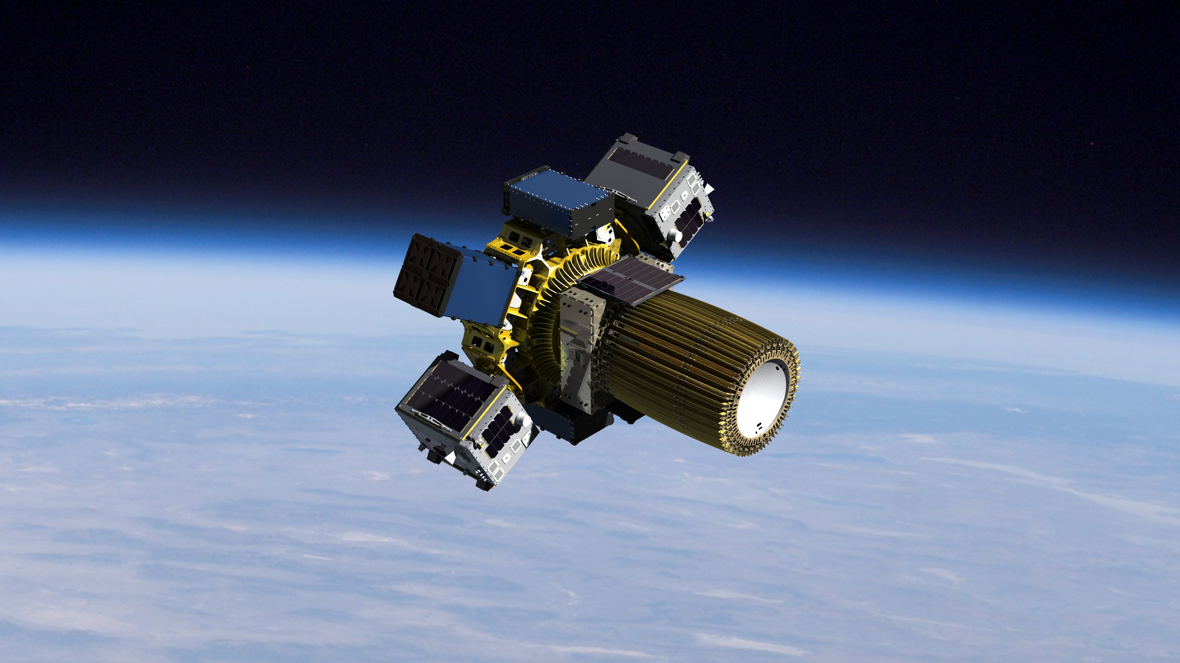 A rendering of the Sherpa in orbit—basically, a metal hexagon studded with computers.