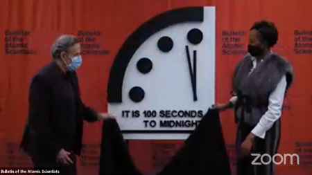 "The Bulletin of the Atomic Scientists announced today that it is keeping the minute hand of the ""Doomsday Clock"" at 100 seconds to midnight."
