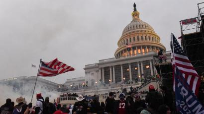 Police clear the U.S. Capitol Building with tear gas as supporters of U.S. President Donald Trump gather outside, in Washington, U.S. January 6, 2021.