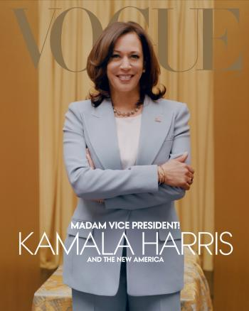 Kamala Harris wears a blue suit in this alternate cover Vogue shot