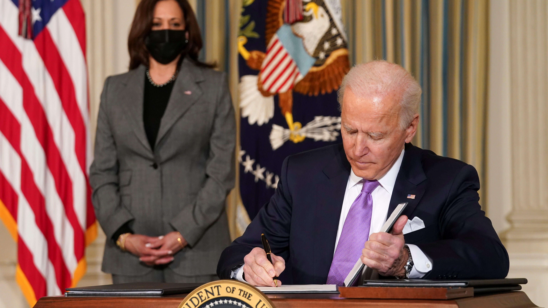 Joe Biden signs executive orders for his racial equity agenda on January 26.