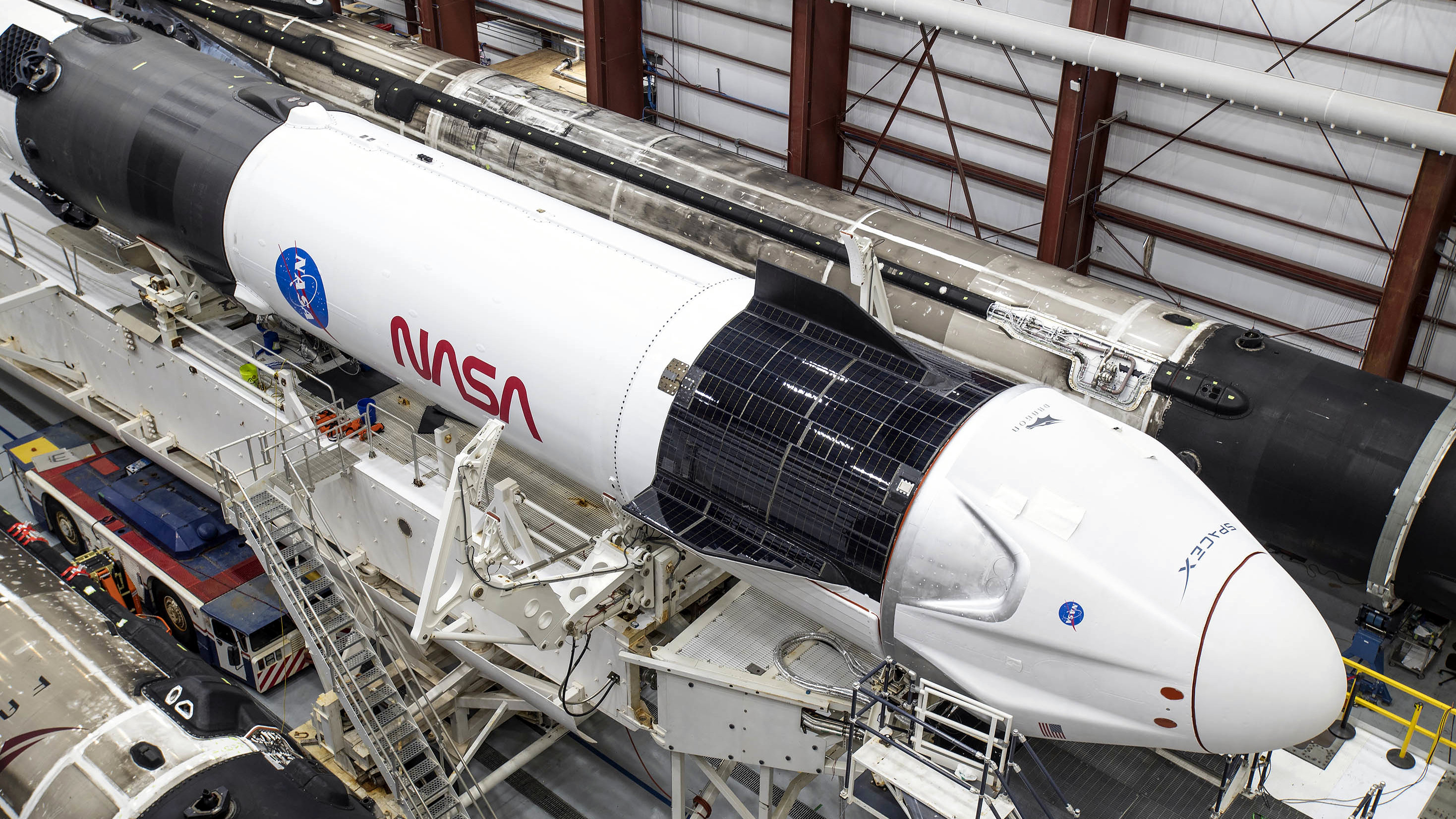 A SpaceX rocket being prepared for a NASA mission.