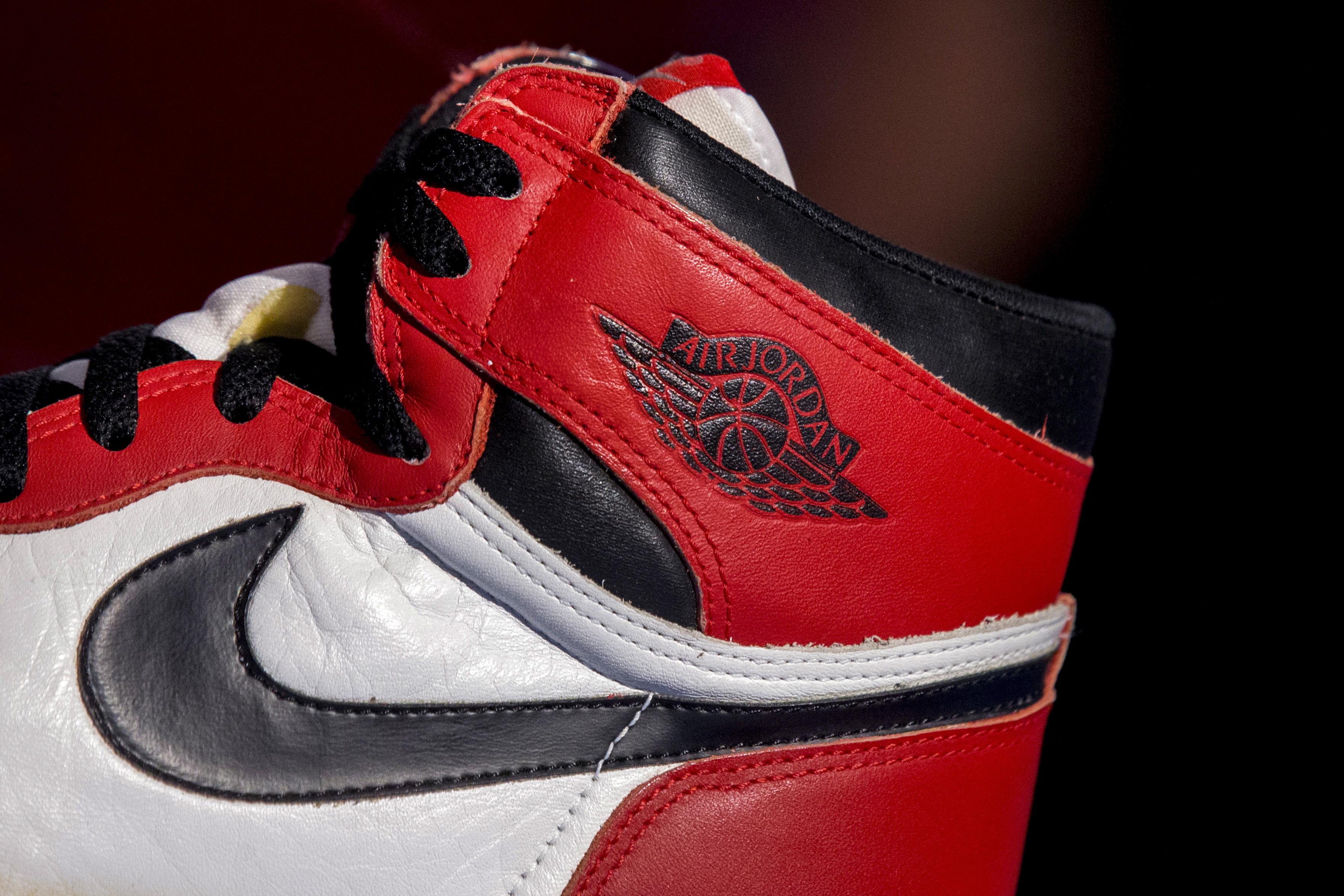 The famous Nike swoosh and Air Jordan logo is seen on an Air Jordan 1