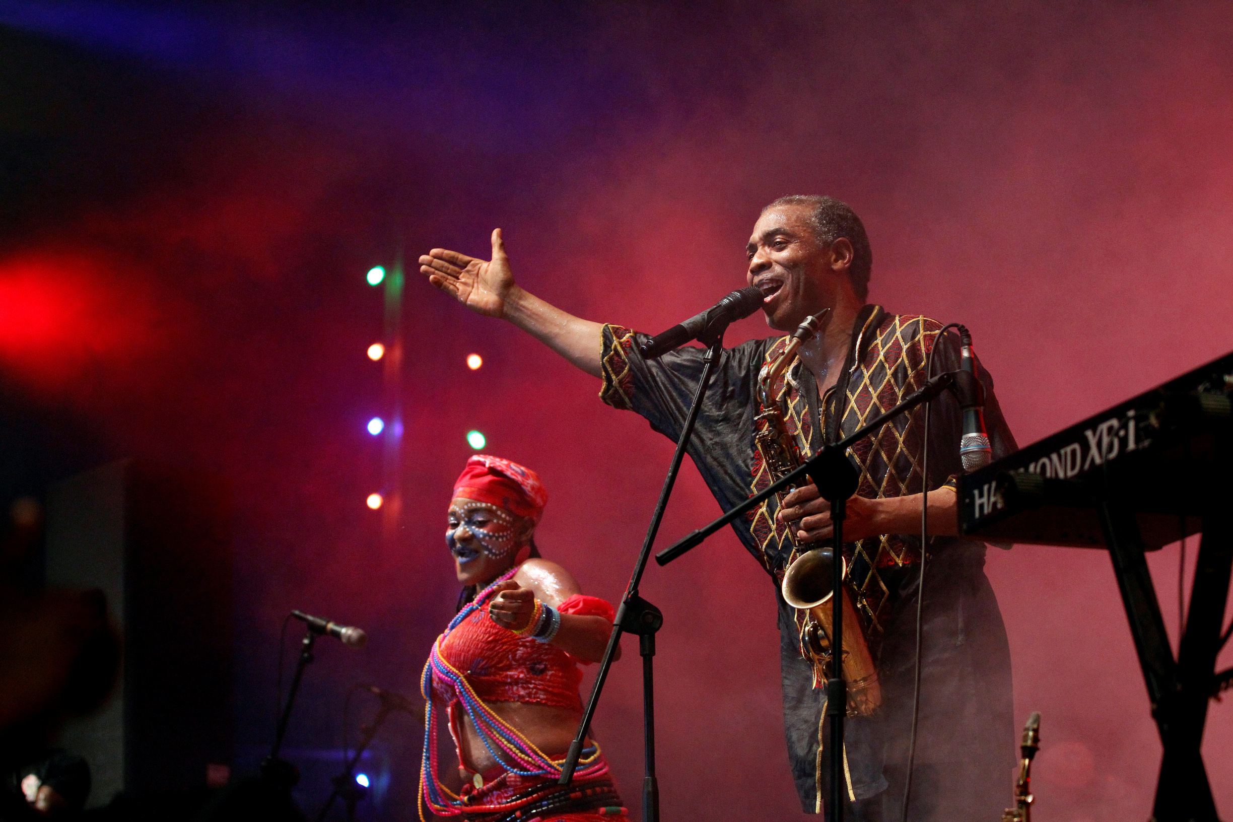 Femi Kuti performs at the annual musical celebration in honour of Nigeria's music icon Fela Kuti in Lagos in 2016.