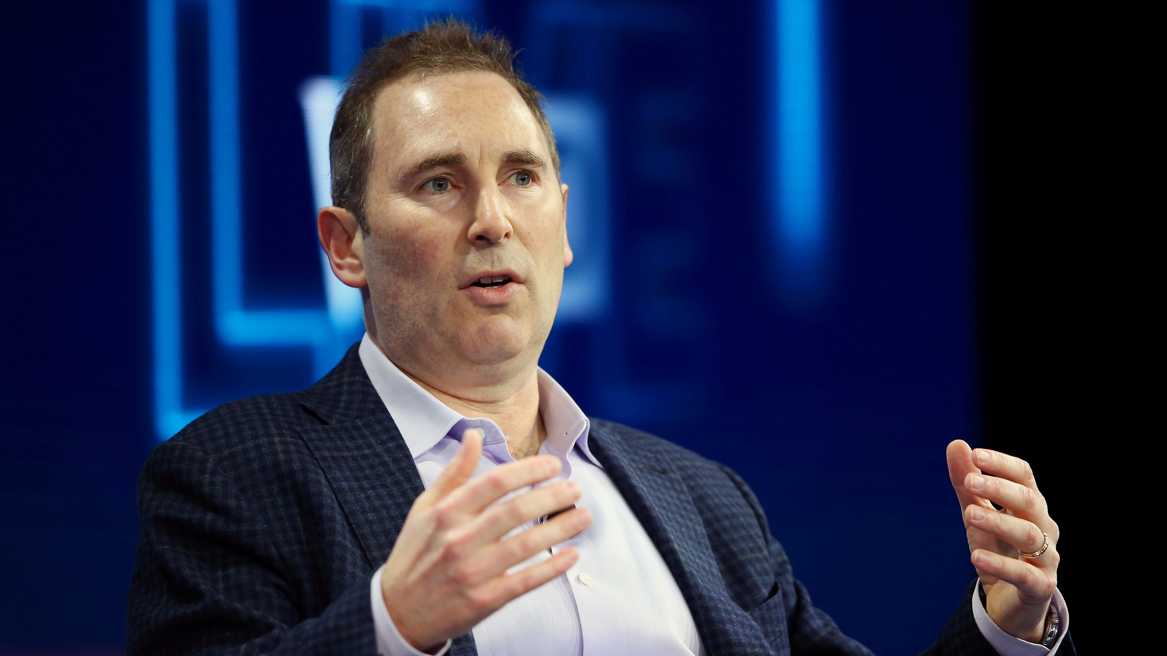 Andy Jassy, CEO Amazon Web Services, speaks at a conference