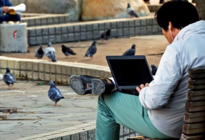 A man uses a laptop computer as pigeons are seen at a park in Tokyo