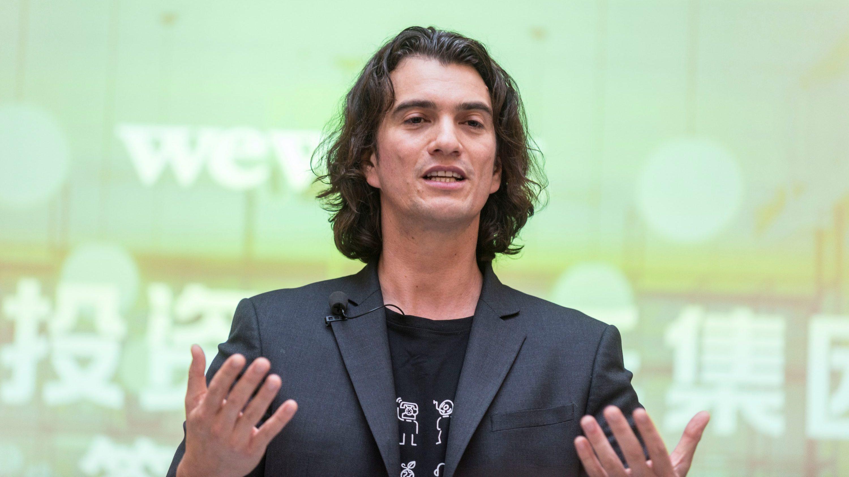 Adam Neumann speaks during a signing ceremony in Shanghai in 2018.