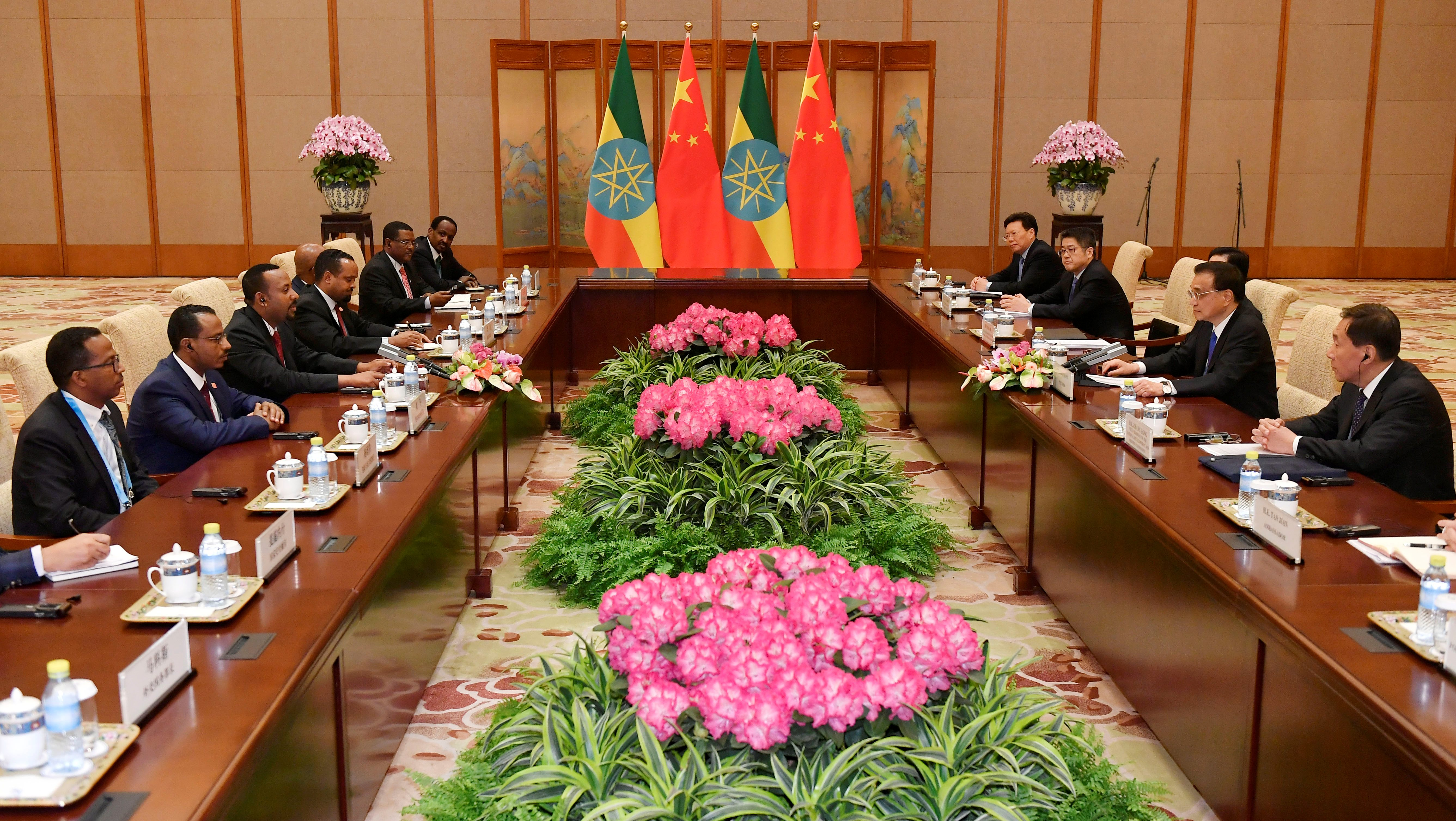 Ethiopian and Chinese officials meet in Beijing in 2019.