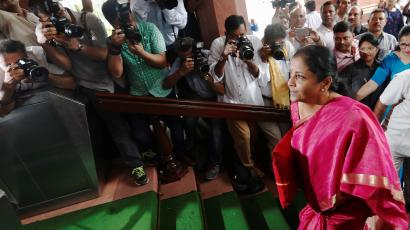 India's Finance Minister Nirmala Sitharaman arrives to present the 2019 budget in Parliament, New Delhi, India