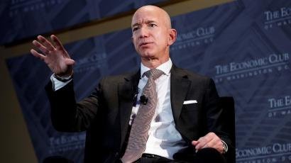 Jeff Bezos, president and CEO of Amazon and owner of The Washington Post, speaks at the Economic Club of Washington DC in 2018