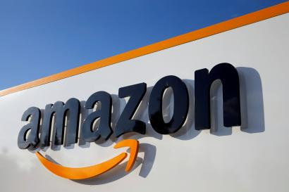 The logo of Amazon is seen at the company logistics centre in Boves, France