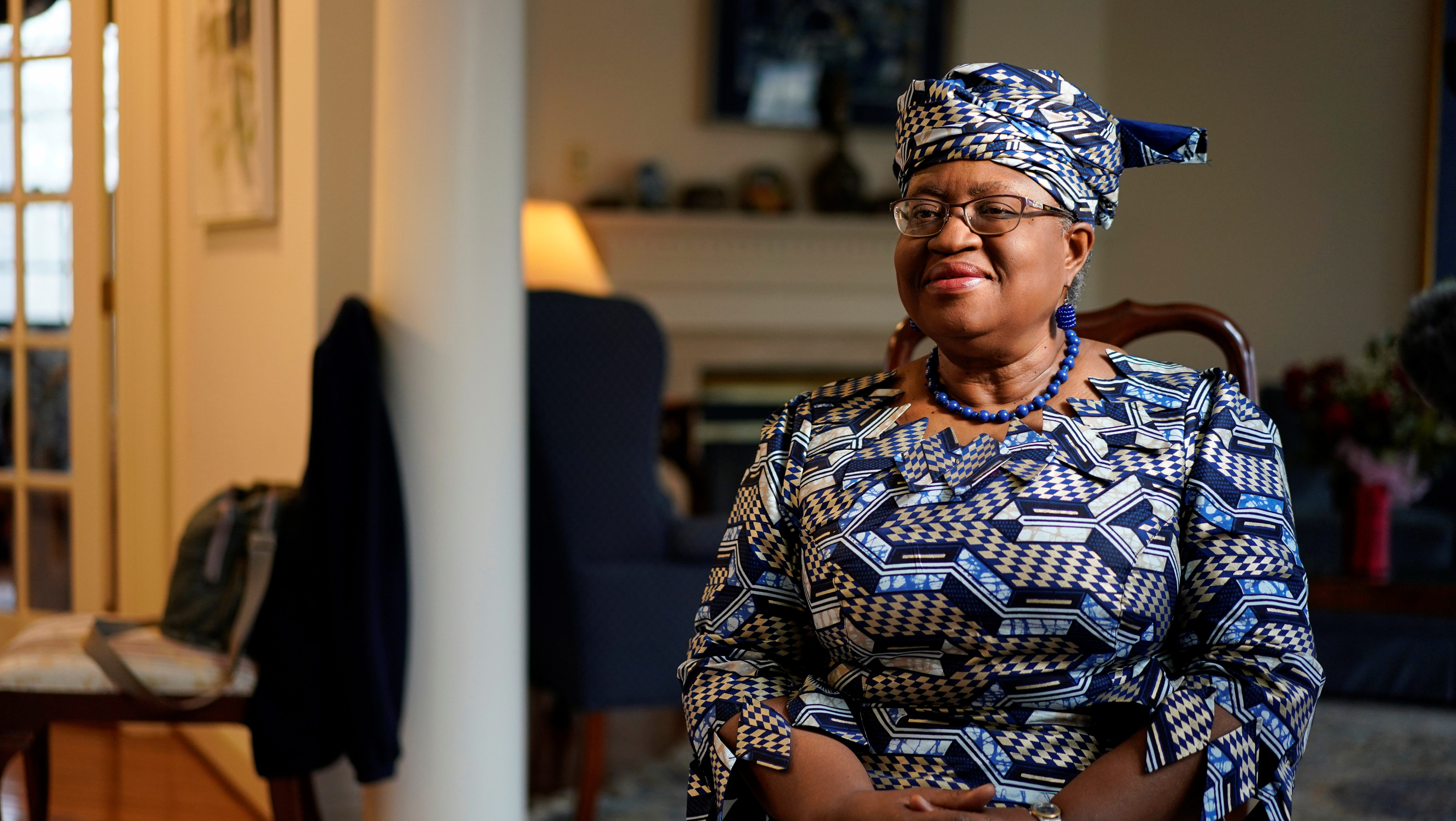 Incoming World Trade Organization President Ngozi Okonjo-Iweala speaks during an interview with Reuters in Potomac, Maryland, U.S., February 15.