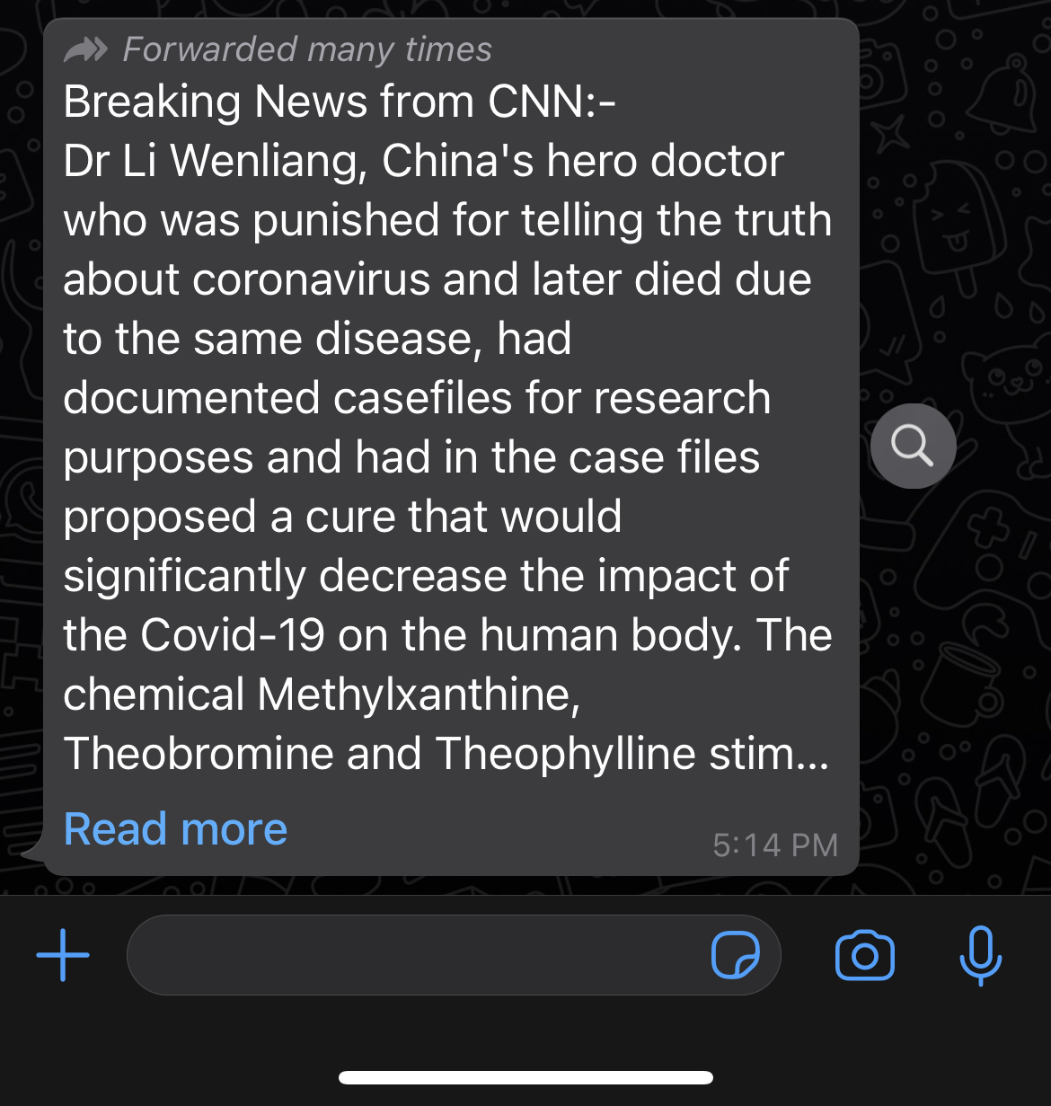 "A WhatsApp message spouting lies about the pandemic is accompanied by a small string of text that says ""Forwarded many times"" and a small magnifying glass icon."