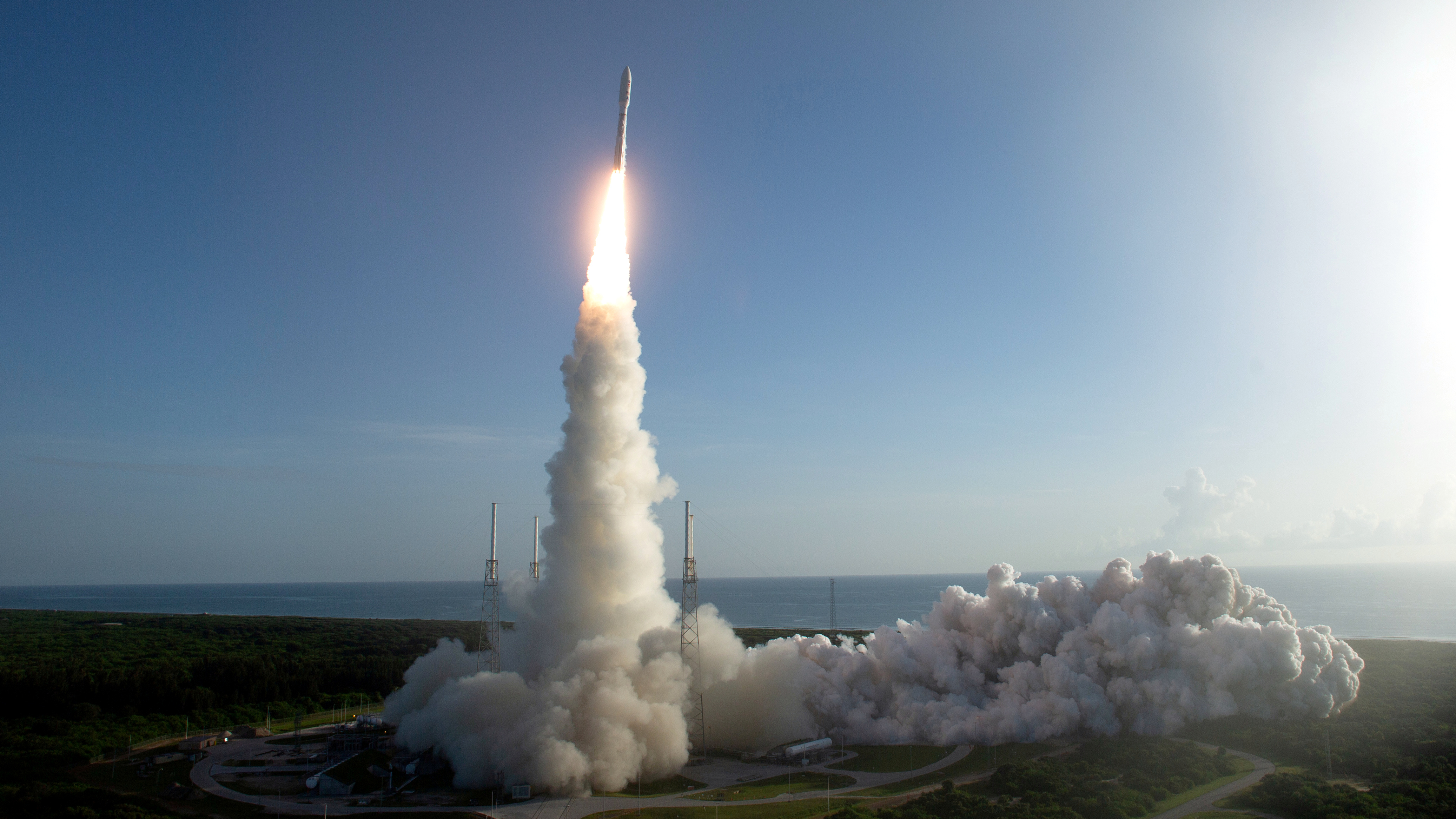 A rocket launches NASA's Mars 2020 mission from Cape Canaveral.