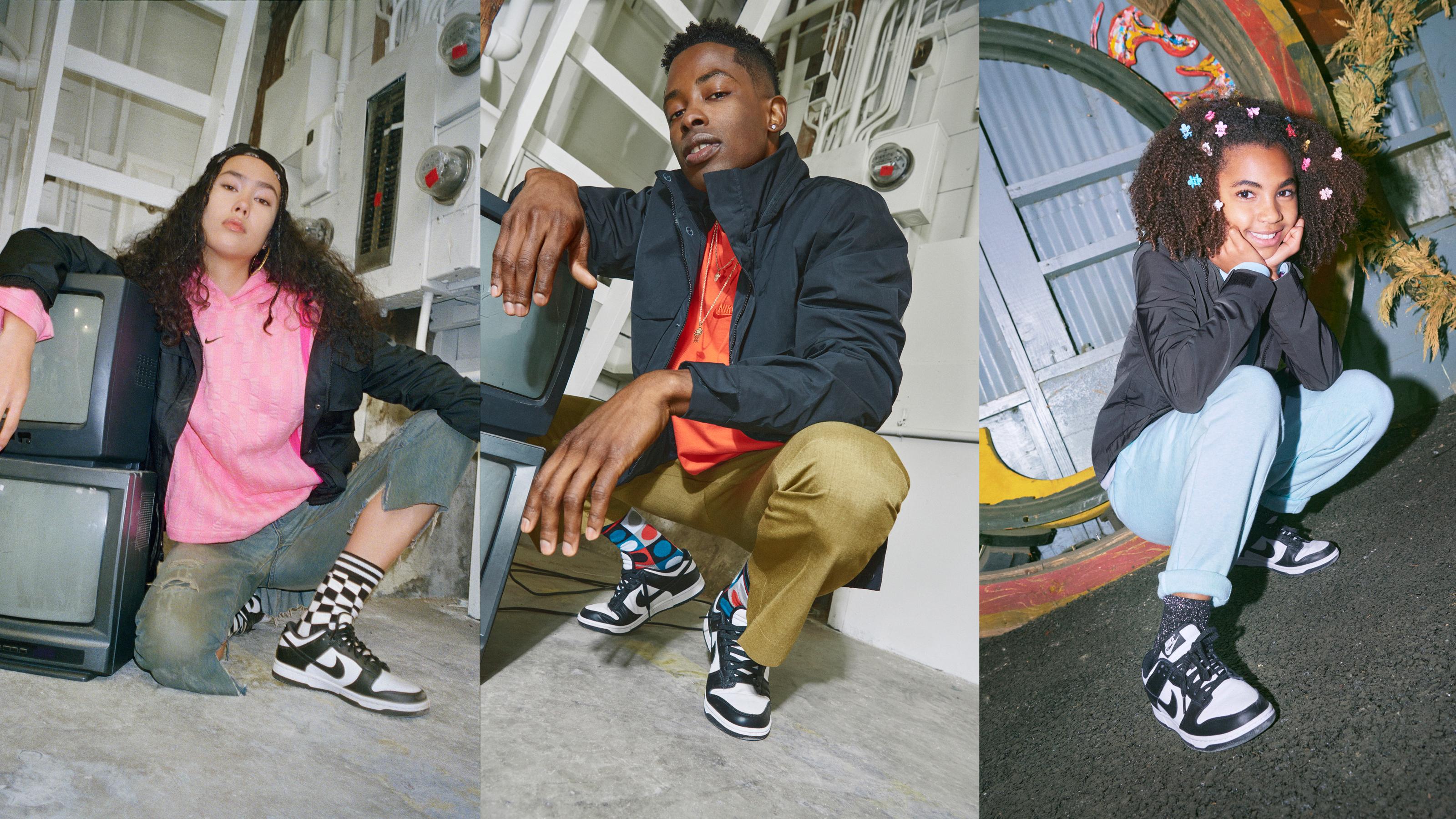 Three different models wear Nike Dunks