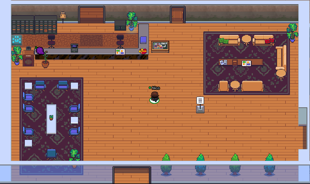 An 8-bit avatar stands in the middle of the waiting room in Gather's virtual headquarters.