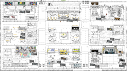 A sketch of nine city blocks, featuring detailed illustrations of buildings, a basketball court, and a greenhouse, taken from a screenshot of the virtual world Topia.