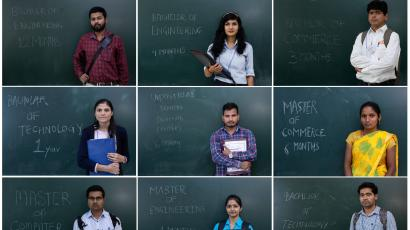 A combo shows unemployed people posing in front of a chalkboard with their qualifications during a job fair in Chinchwad