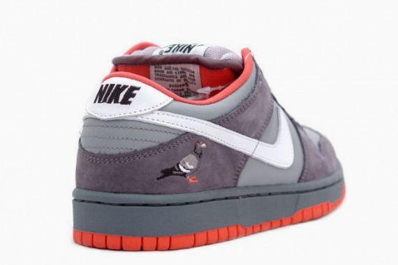 A shot of the Staple Pigeon Dunk, showing off the embroidered pigeon on its heel.