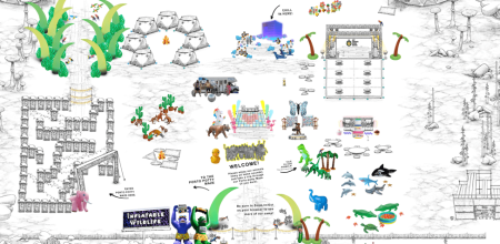 A virtual Burning Man camp, which features many inflatable animals, a ring of tents, a stage, and a maze made out of port-a-potties.