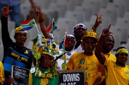 Fans of South Africa's Mamelodi Sundown before the CAF African Champions League final in 2016.