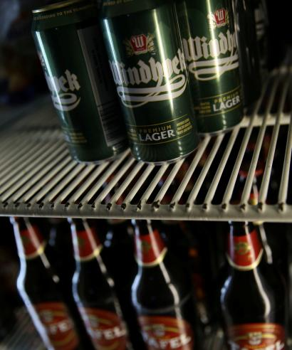 Beers are packed in a fridge at a bar in Windhoek, Namibia.