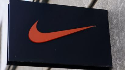The Nike swoosh logo is pictured on a store in New York City