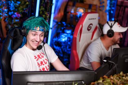 Tyler 'Ninja' Blevins and Gotaga playing during Tyler Ninja Blevins 2019 Euro Trip in Paris, France on March 07, 2019.