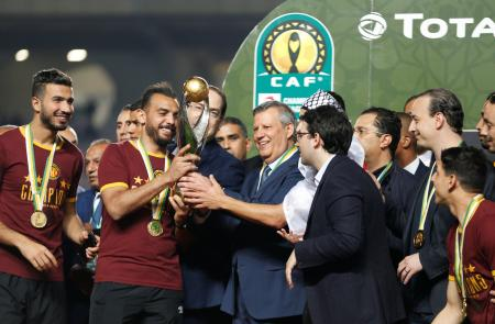 Esperance celebrates after winning the CAF trophy in 2019 in Tunisia.