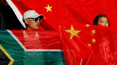 China and South Africa fans are pictured at the Women's World Cup