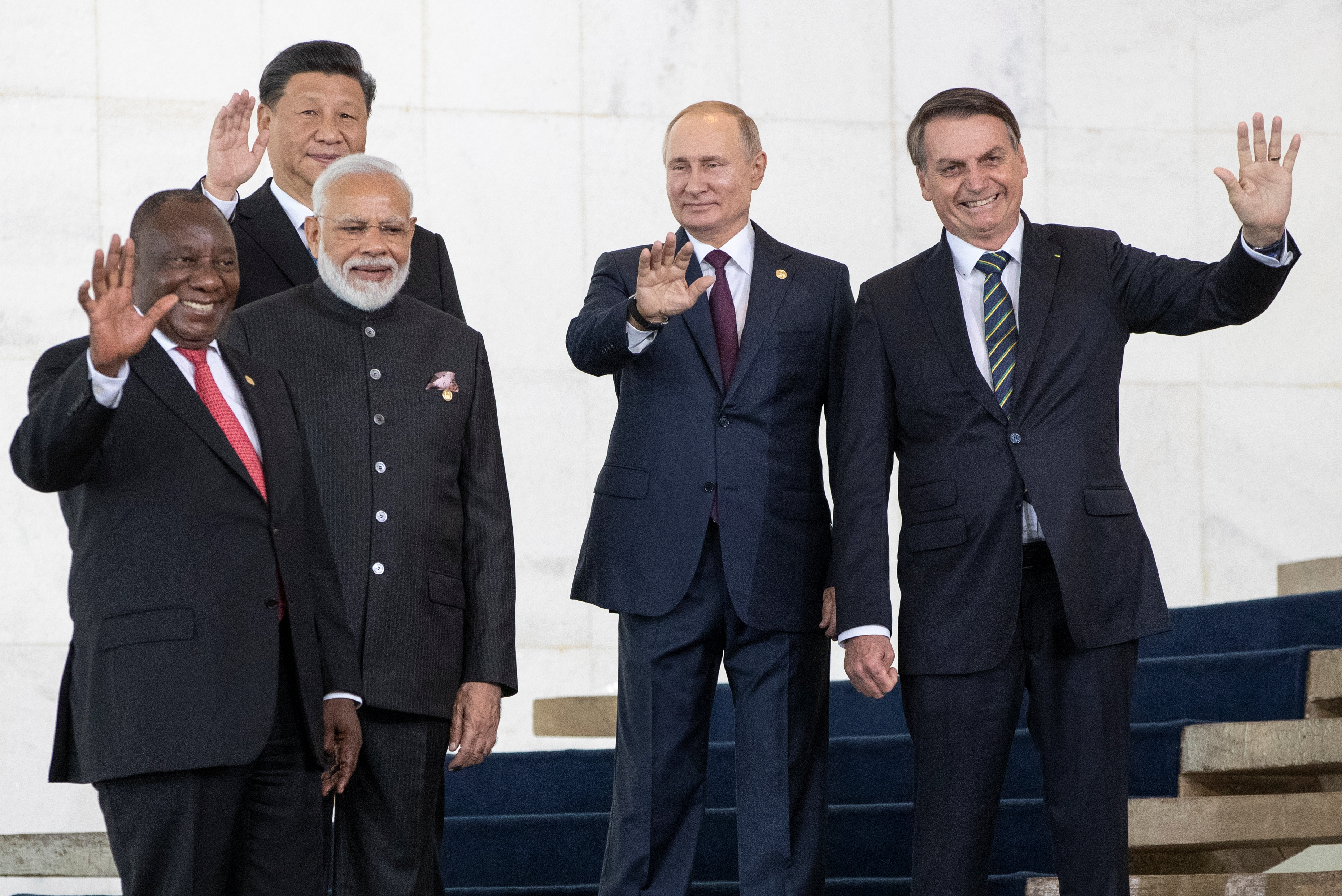 South Africa's President Cyril Ramaphosa, China's President Xi Jinping, India's Prime Minister Narendra Modi, Russia's President Vladimir Putin and Brazil's President Jair Bolsonaro pose for a photo at the BRICS summit in Brazil in 2019.