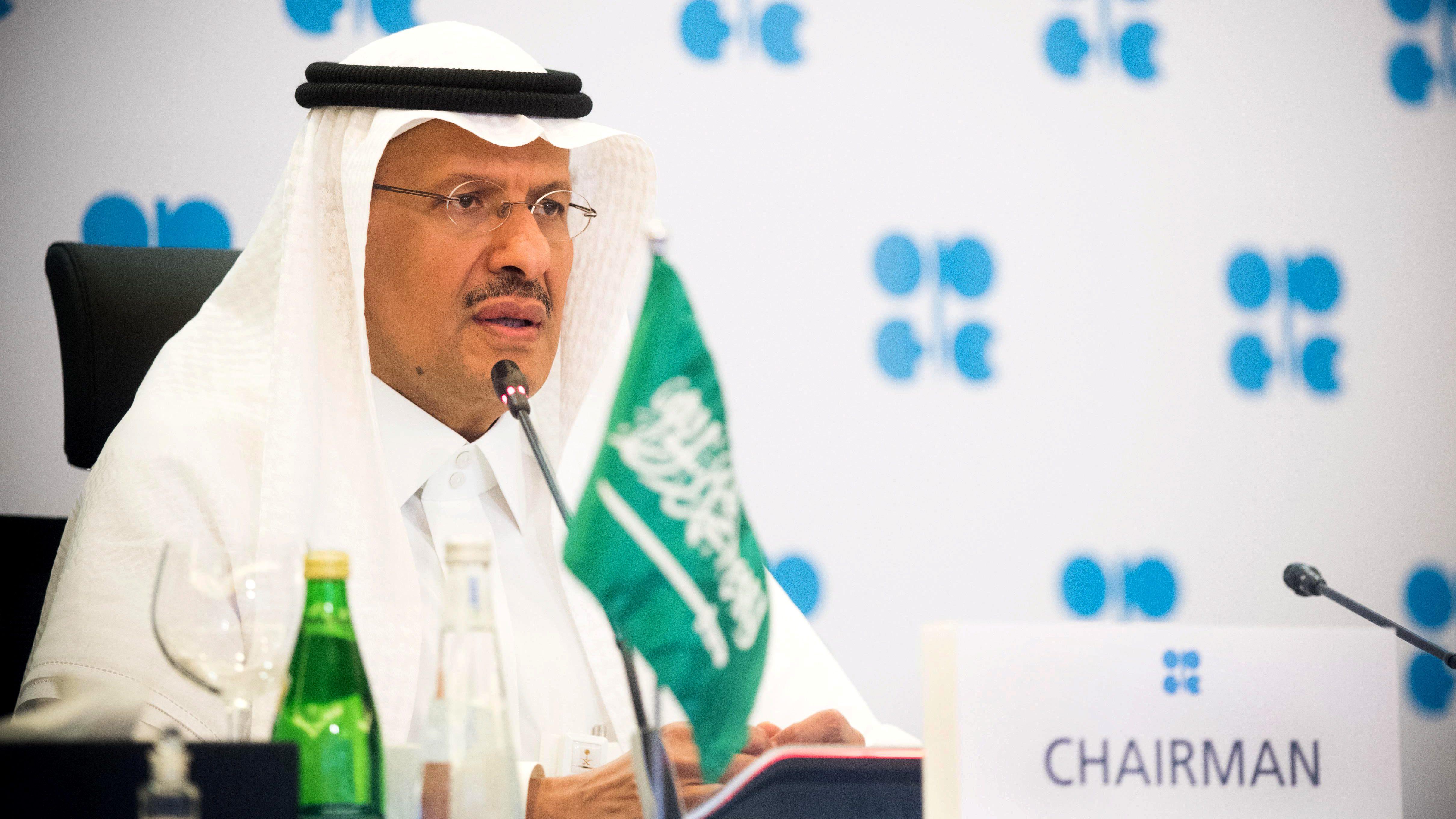 Saudi Arabia's Minister of Energy Prince Abdulaziz bin Salman Al-Saud speaks via video link during a virtual emergency meeting of OPEC and non-OPEC countries, following the outbreak of the coronavirus disease (COVID-19), in Riyadh