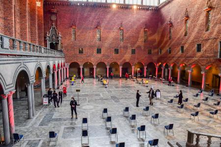 Spaced out chairs in the Stockholm City Hall, Stockholm, Sweden