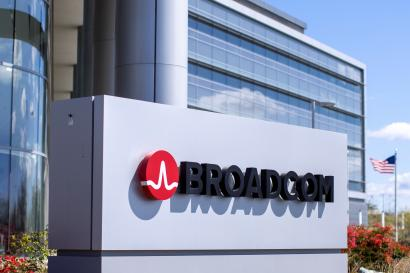 The Broadcom Limited company logo is shown outside one of their office complexes.