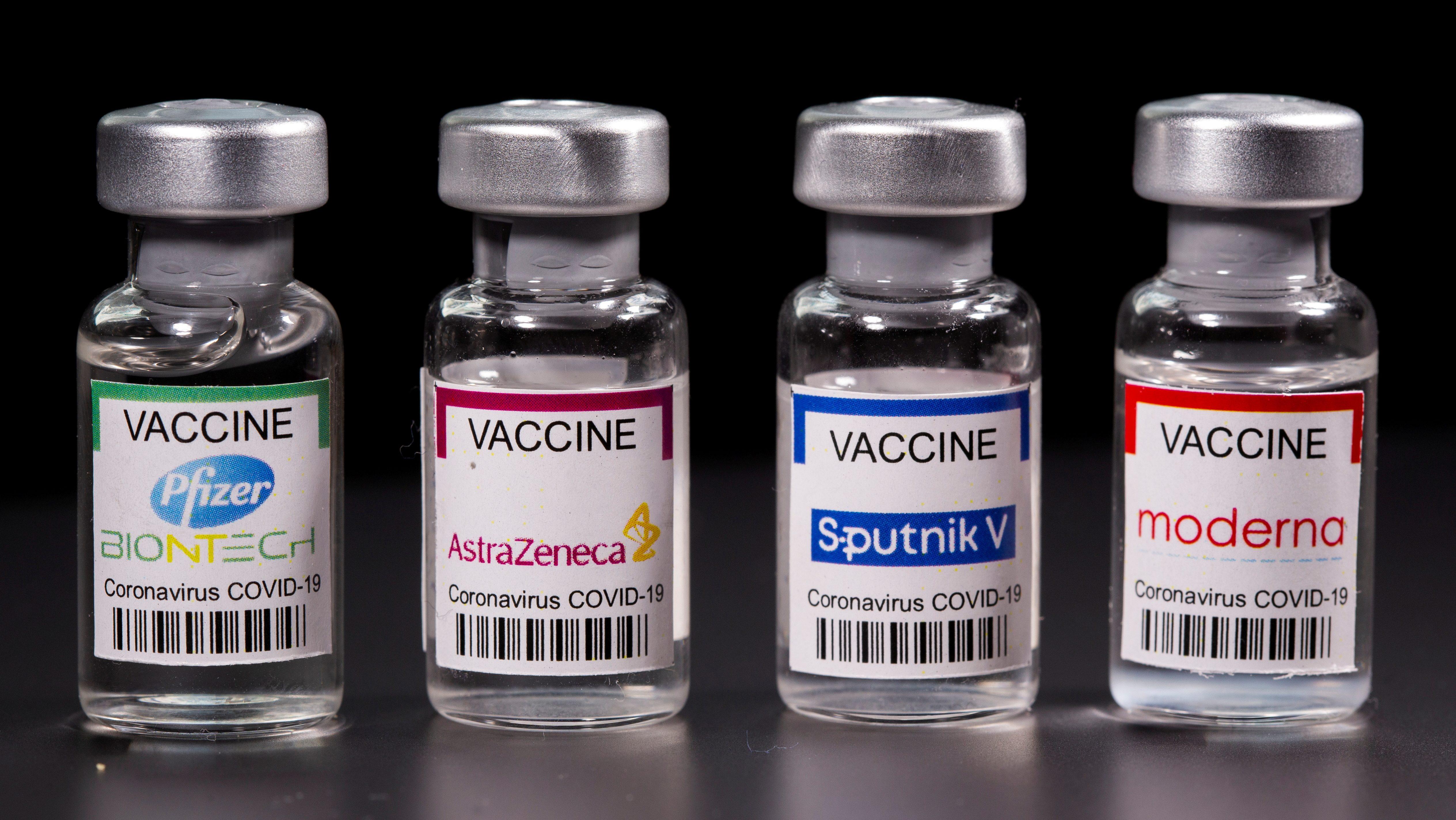 Vials of Pfizer, Moderna, AstraZeneka, SputnikCovid-19 vaccine displayed side by side.