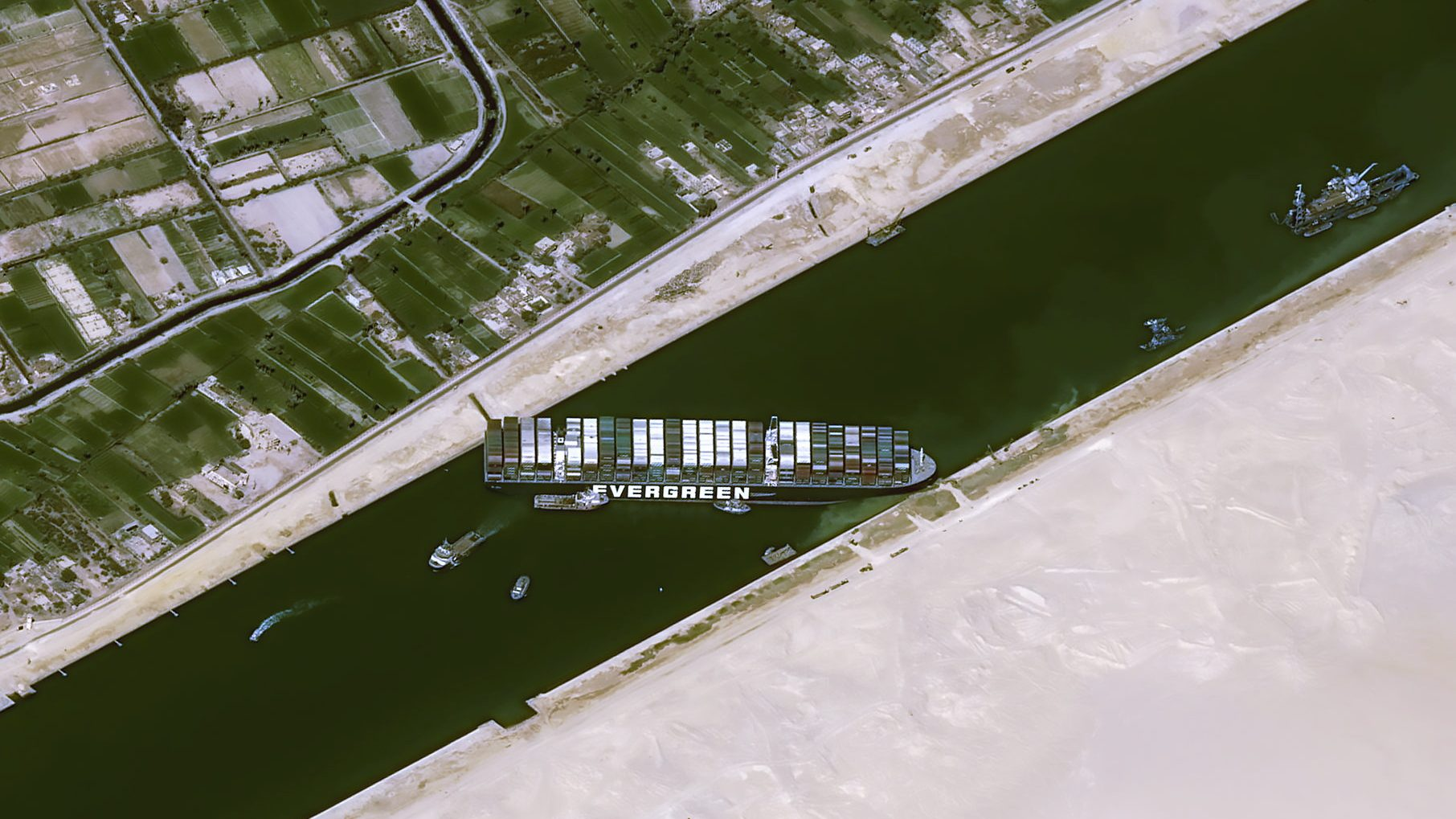 A satellite image shows stranded container ship Ever Given after it ran aground in Suez Canal, Egypt March 25, 2021.