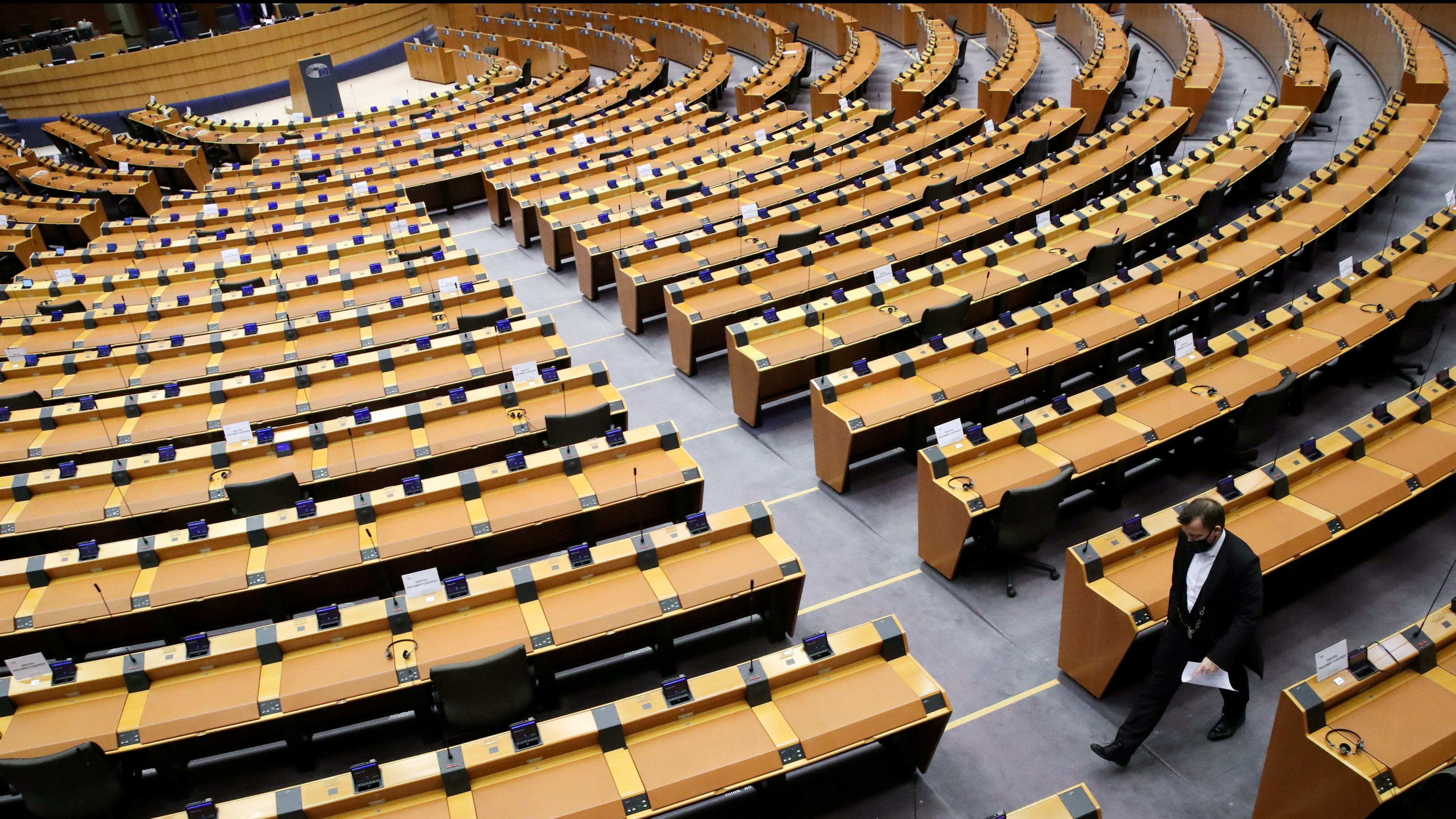 The Inside of the plenary room of the European Parliament