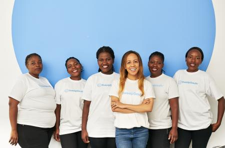 SweepSouth co-founder and CEO Dr. Aisha Pandor is pictured with her employees, known as SweepStars.