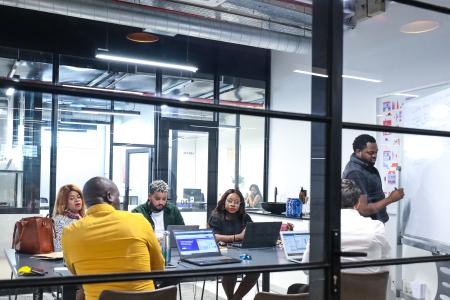 Employees of South African startup Student Hub are pictured.