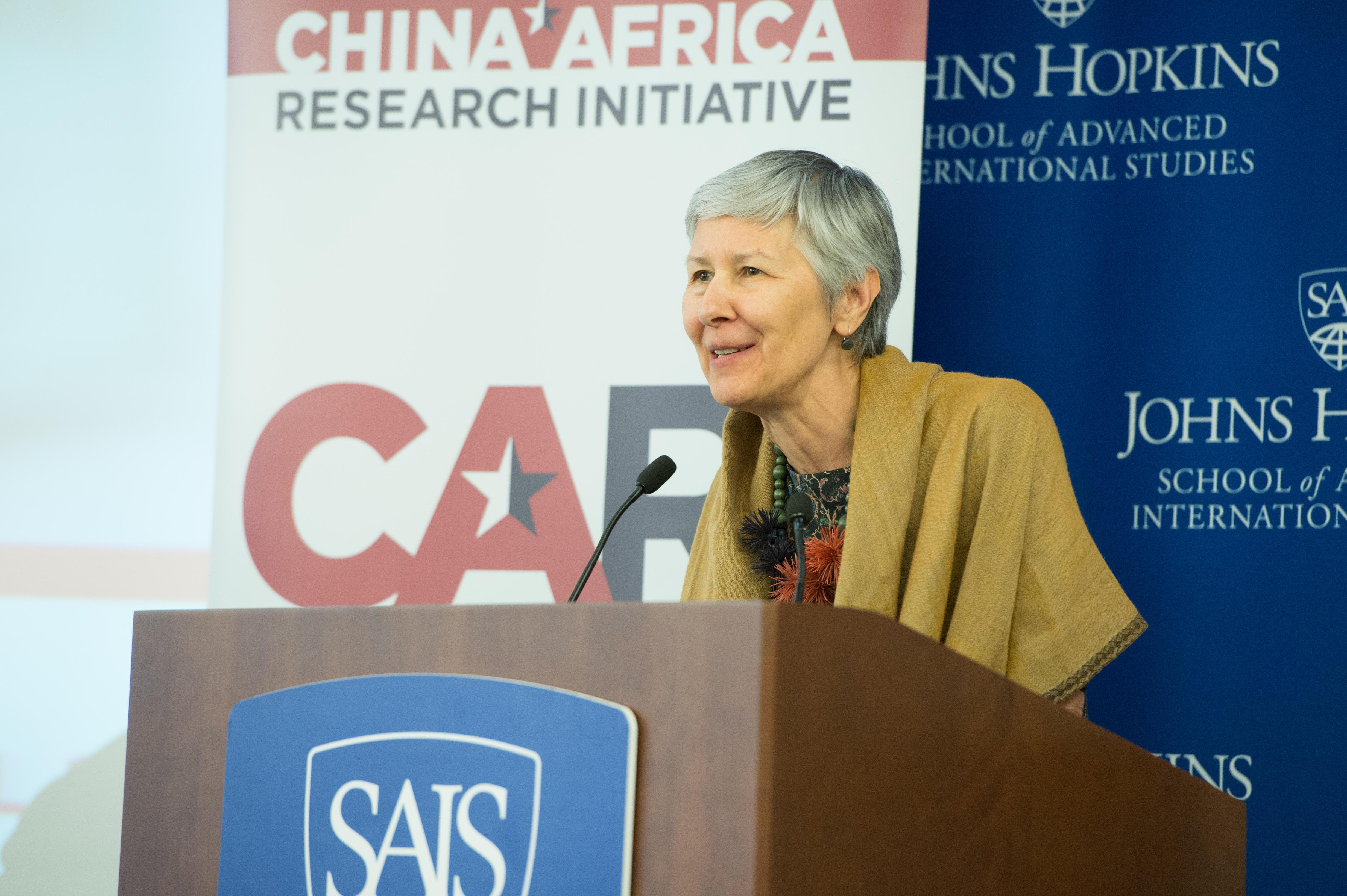 China-Africa expert Deborah Bräutigam is pictured lecturing.