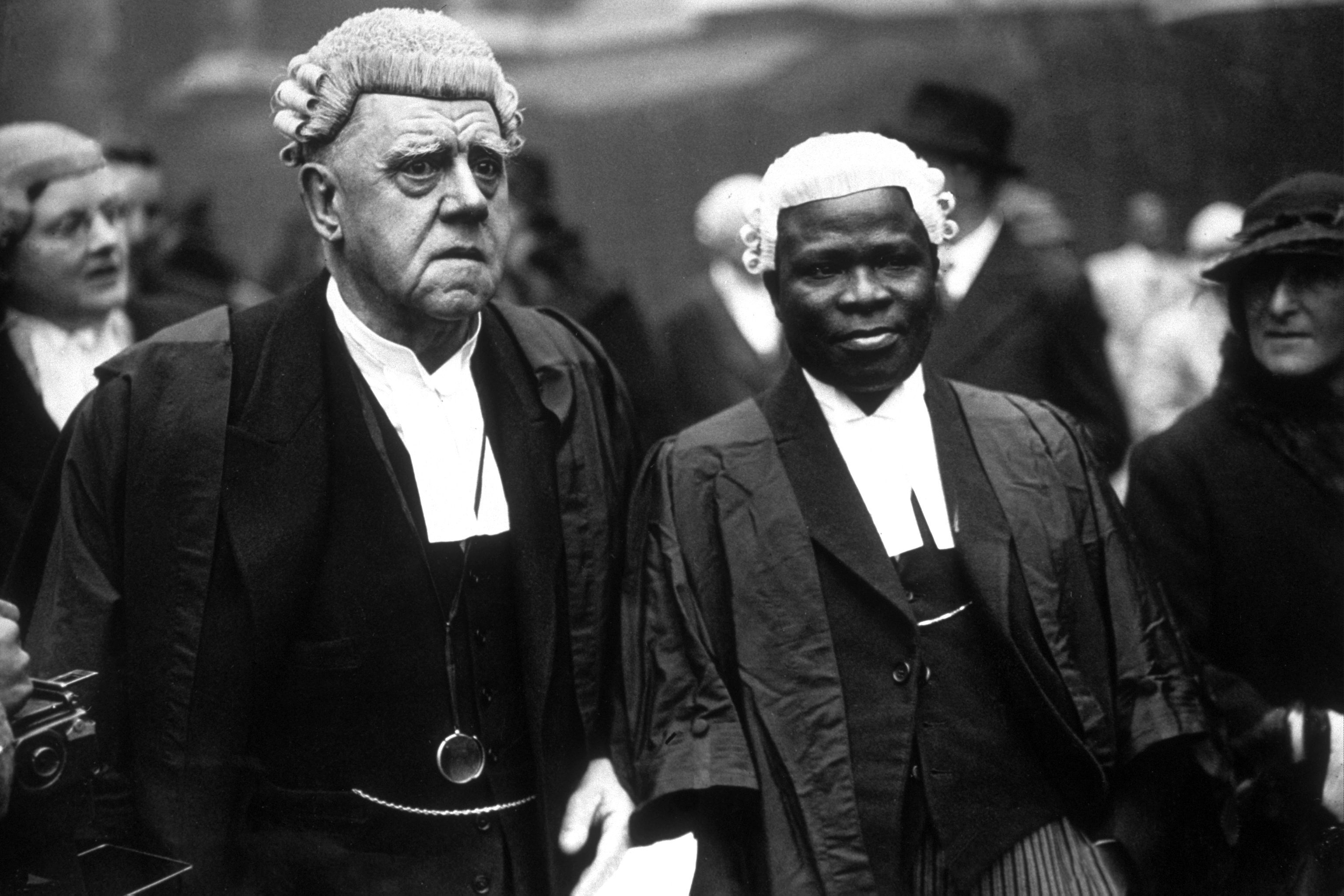 Ladipo Solanke is pictured with a fellow barrister in London in 1936.