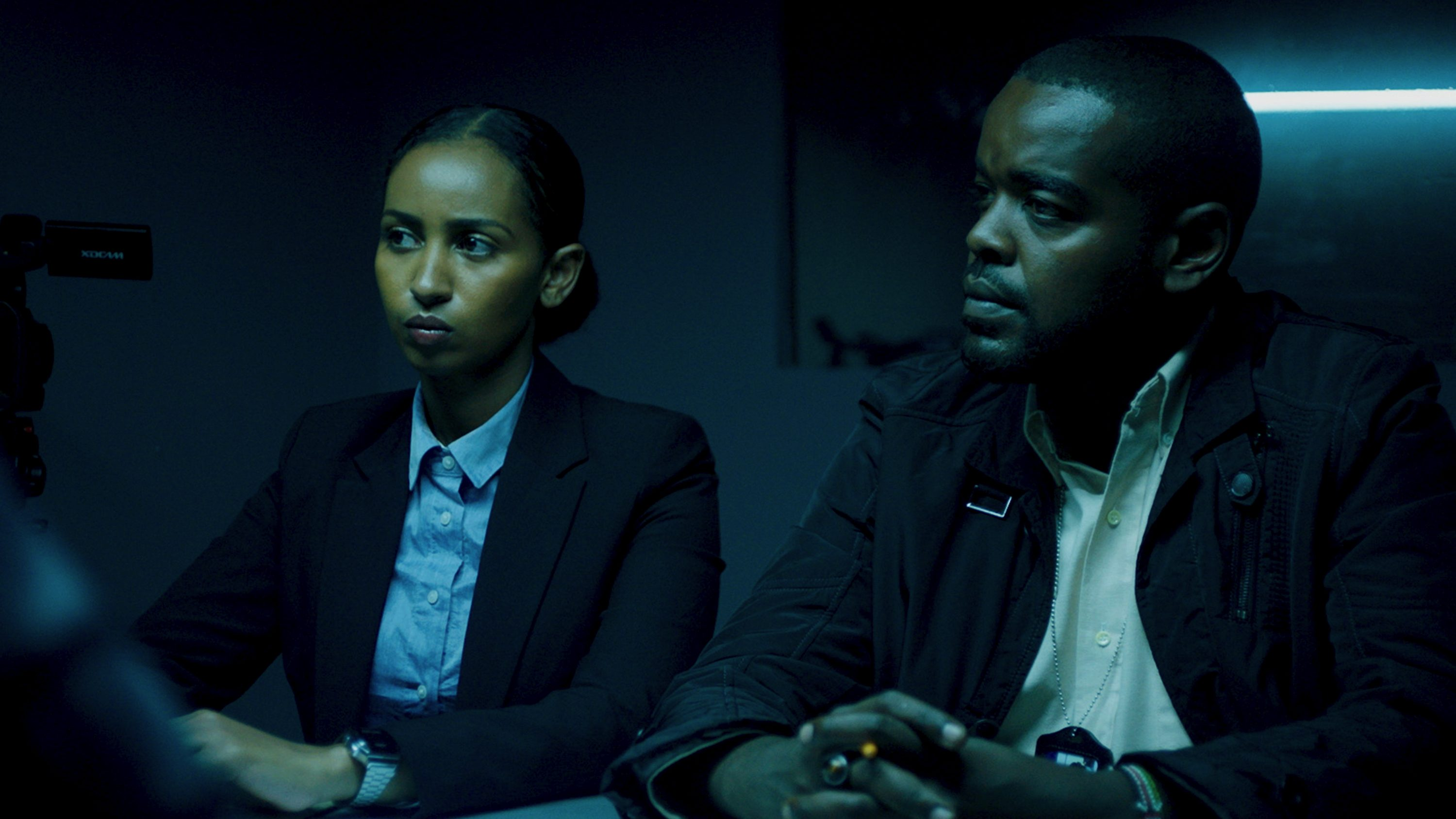 Actors Sarah Hassan and Alfred Munyua in a scene in Crime and Justice.