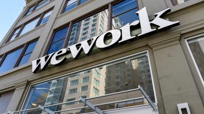WeWork logo on an office in San Francisco