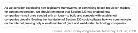 "A snippet from Jack Dorsey's testimony on Oct. 28, 2020 that reads: ""As we consider developing new legislative frameworks, or committing to self-regulation models for content moderation, we should remember that Section 230 has enabled new companies—small ones seeded with an idea—to build and compete with established companies globally. Eroding the foundation of Section 230 could collapse how we communicate on the Internet, leaving only a small number of giant and well-funded technology companies."""