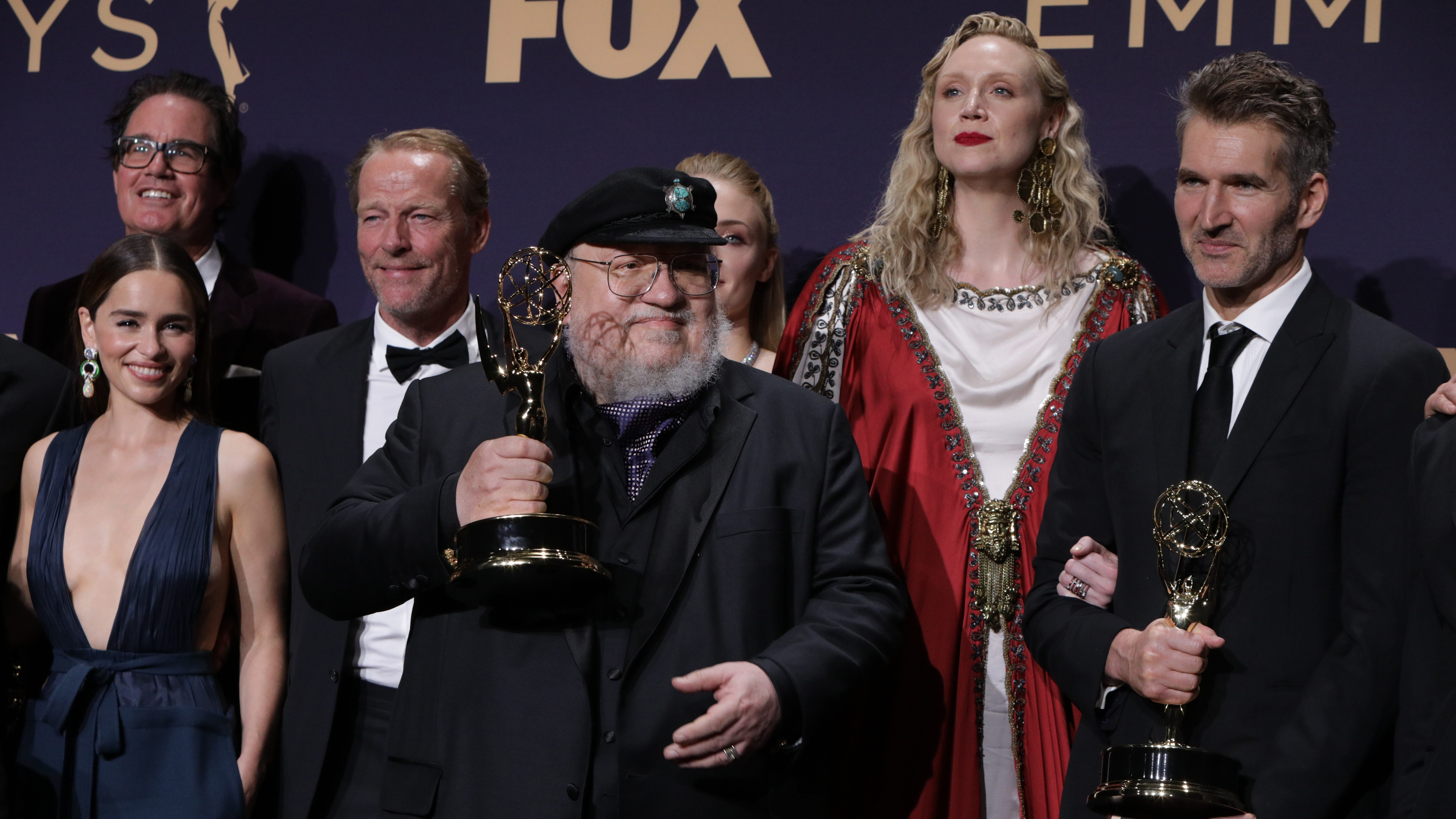 george r.r. martin accepting an award for game of thrones
