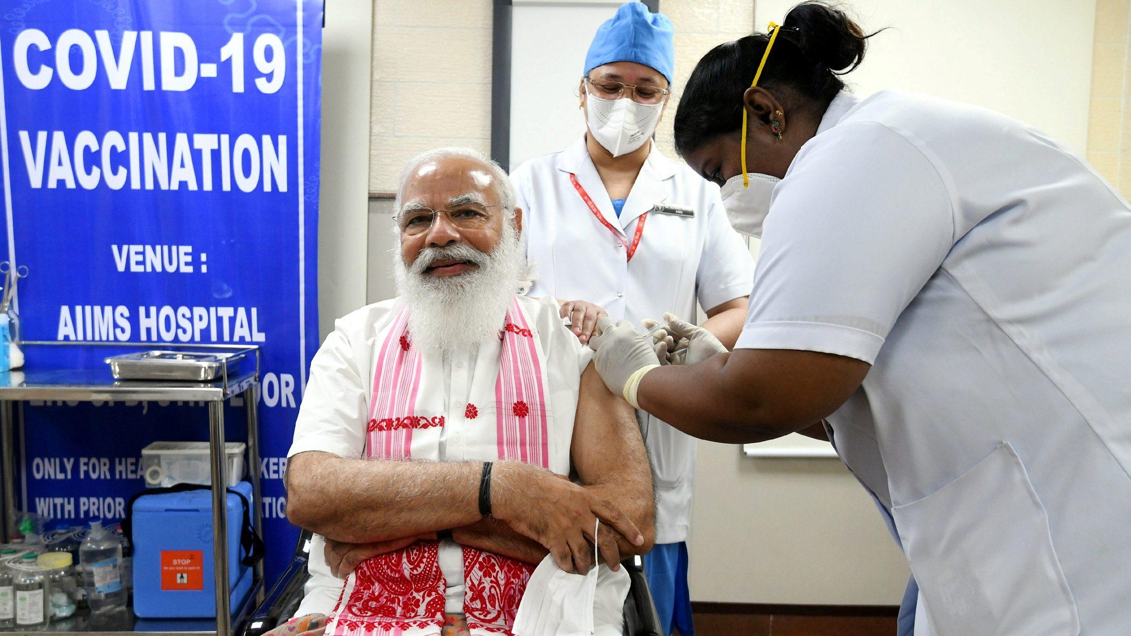 India's PM Modi receives a dose of a COVID-19 vaccine in New Delhi
